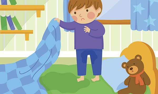 Illustration depicts a child discovering he has wet the bed. Davina Richardson, a children's specialist nurse at the charity Bladder & Bowel UK, writes about the importance of commissioning integrated children's continence services.