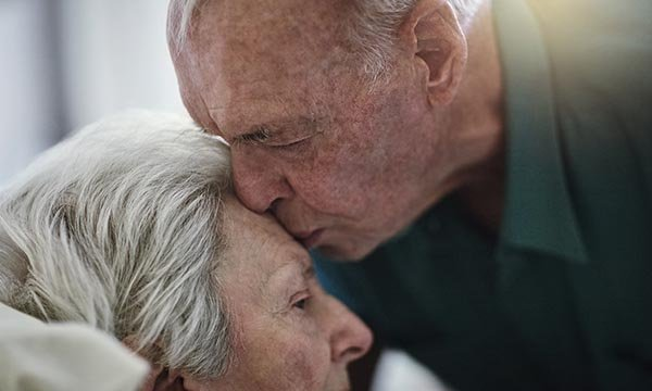 What is an older husband's experience of caring for his wife who has dementia?