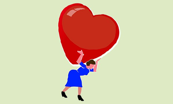 Illustration of a nurse carrying a heavy emotional load in the form of a large heart on her back