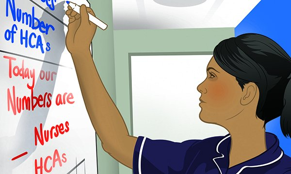 Illustration of a nurse writing on a staff rota board, with healthcare assistant and nurse numbers recorded
