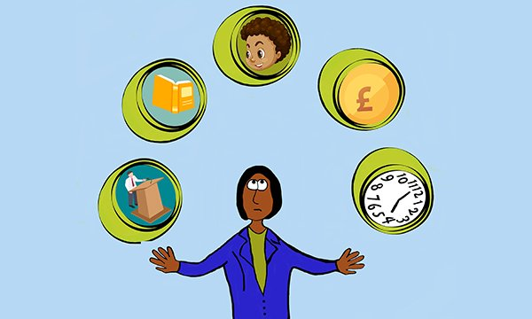 illustration shows woman juggling balls with pictures denoting different tasks, including childcare, money, reading and lectures
