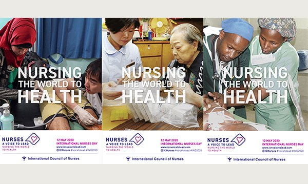 collation of three ICN posters, each showing an image of a nurse with patients, behind the slogan 'Nursing the world to health'