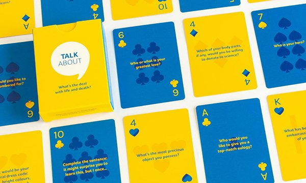 Picture shows playing cards created by the charity Marie Curie to help broach the subject of death and dying. Early and open conversations with patients and their families can make a huge difference to the end of life experience.