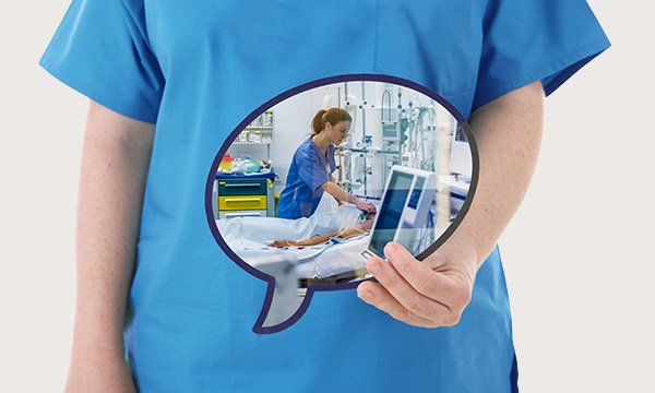 Image of a nurse holding a speech bubble that contains a picture depicting a nursing task. How nurses describe their profession has an impact on the way policymakers, politicians and the public perceive the role