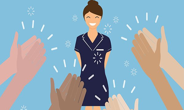 Illustration of general practice nurse being applauded for their work