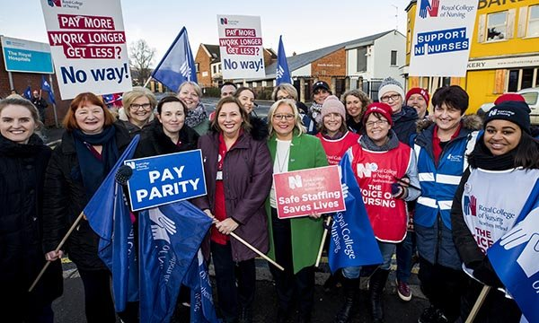RCN Northern Ireland director, Pat Cullen, with striking members on a picket line in Belfast