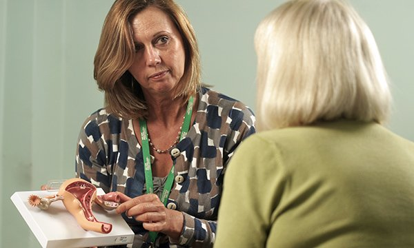 A specialist nurse explains gynaecological cancers to a patient