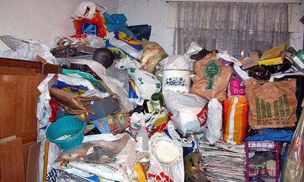 Image shows the contents of a hoarder's home