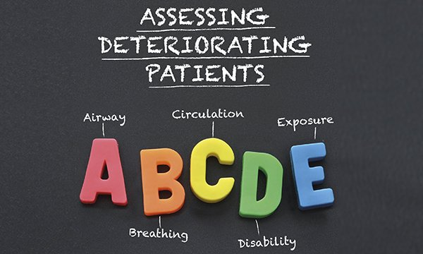 Illustration showing the five elements of the ABCDE approach to assessing deteriorating patients