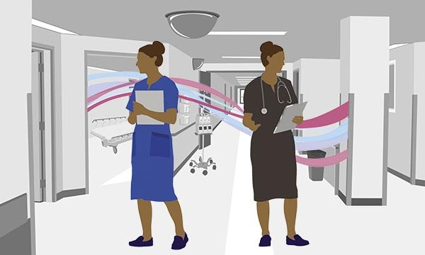 Illustration showing a nurse on one side and the same person as a doctor on the other side. Health and social care secretary Matt Hancock said that nurses will be able to train as doctors 'more quickly' now that the UK has left the EU