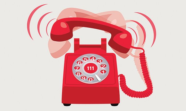 Illustration shows a red telephone with overlapping images ...