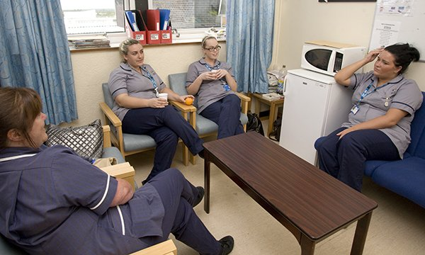 Nurses in a common room. Taking at-work breaks whenever you can is important. Picture: Neil O'Connor