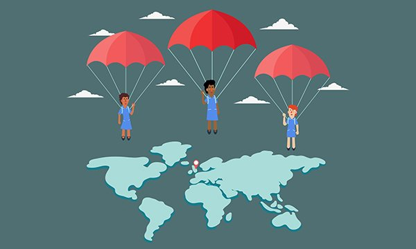 Illustration showing nurses parachuting into the world map, with the UK as their destination point on the map
