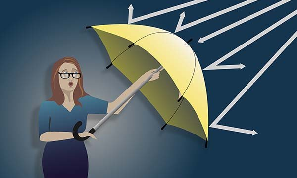 Illustration shows a female figure holding an umbrella to shield herself, with white lines being deflected by the umbrella.