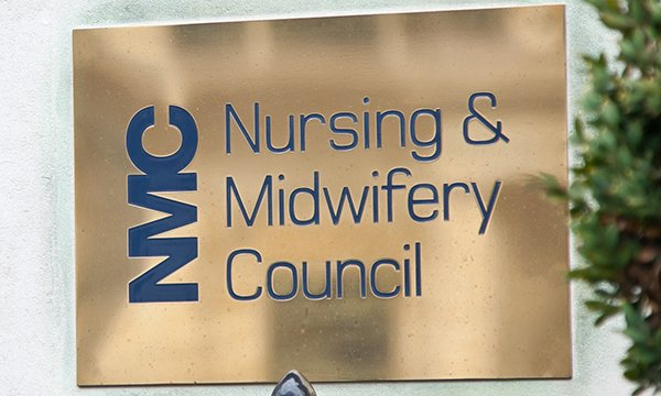 Image of the Nursing and Midwifery Council plaque on its headquarters building