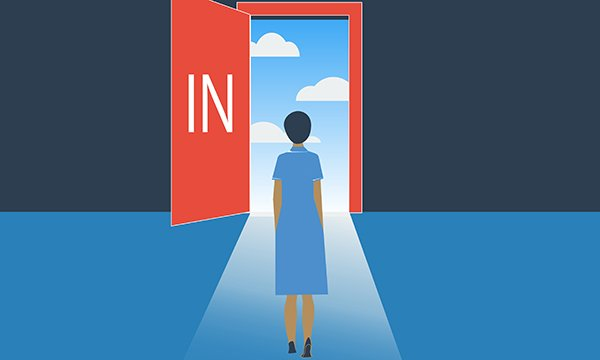 Illustration showing a nurse standing in front open an open door with the sign 'In', choosing to opt in to a clinical placement