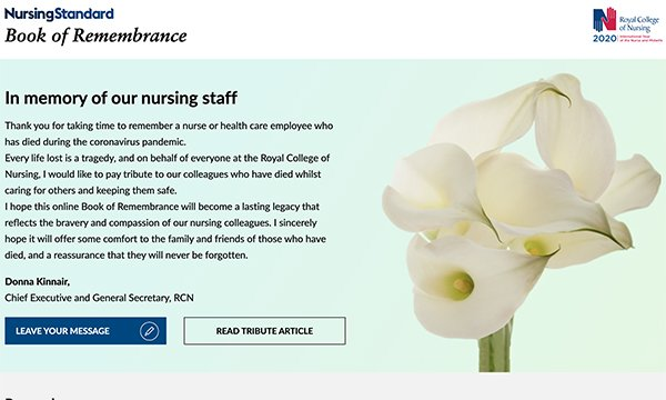 Homepage of Nursing Standards's Book of Remembrance with foreward by Dame Donna Kinnair and a picture of lilies