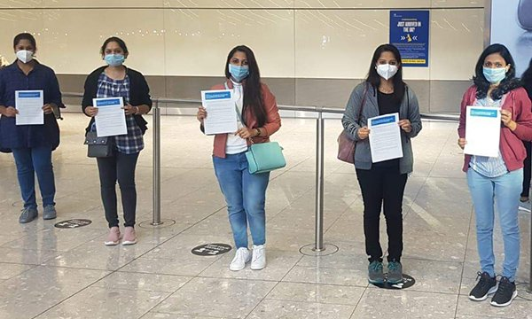 Nurses arriving in UK from India