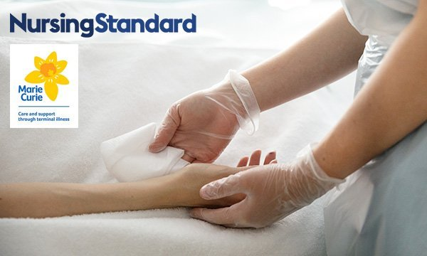 Nurse cleanses the hand of a patient nearing the end of life – as Nursing Standard and Marie Curie ask nurses to complete their survey