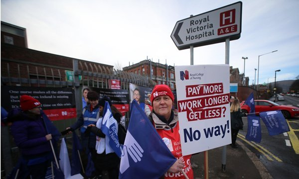 Healthcare worked in Belfast on strike in January over pay and staffing levels