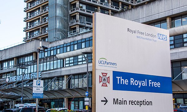 Entrance to Royal Free Hospital in London, where ICU staff have complained about staffing and burnout