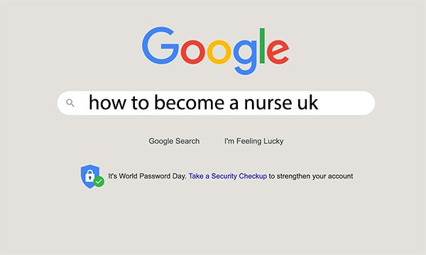 Google search window showing search 'how to become a nurse UK'