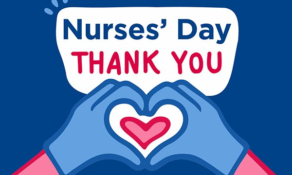 A logo for International Nurses' Day showing gloved hands making a heart shape.s