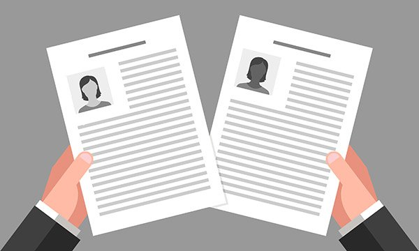 illustration shows two job applications – one from white candidate, one from black candidate