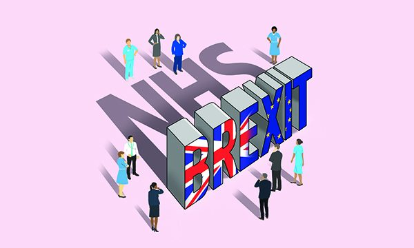 An illustration showing a group of nurses and healthcare professionals standing around blocks spelling the word BREXIT which casts a shadow that spells NHS