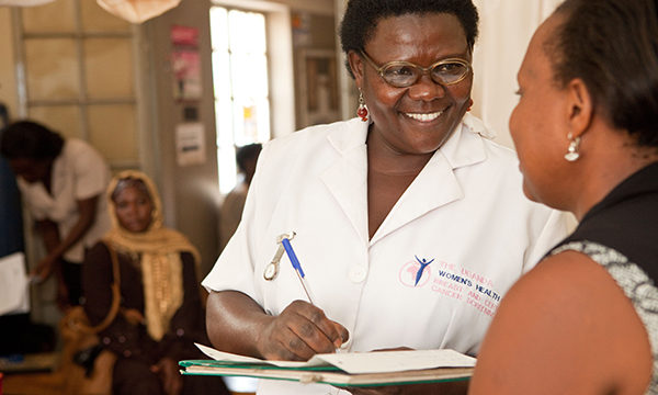 nurse in a Kampala clinic
