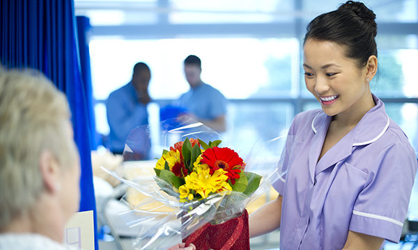 Nurse receiving gift