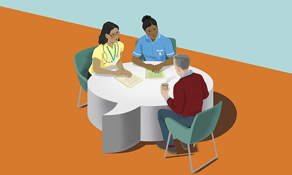 Healthcare professionals and patient site around a table